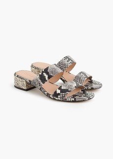 J.Crew Double-strap leather slides in faux-snakeskin