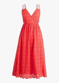 Double-strap midi dress in eyelet