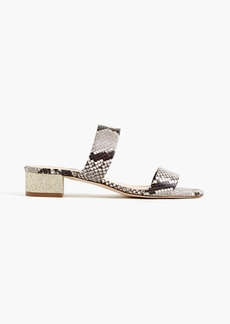 Double-strap slides in snakeskin-printed leather