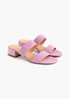 J.Crew Double-strap suede slides in iced lilac