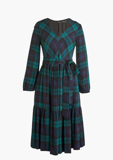 Drapey long-sleeve dress in Black Watch plaid