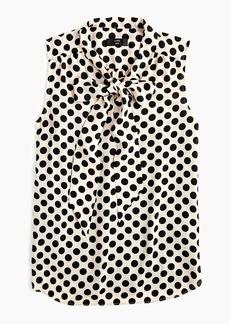 J.Crew Petite drapey tie-neck sleeveless top in polka-dot print