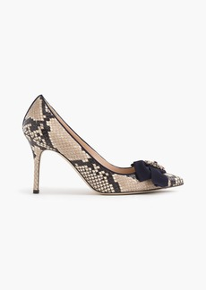 Elsie snakeskin-printed leather pumps