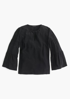 Embroidered bell-sleeve silk top