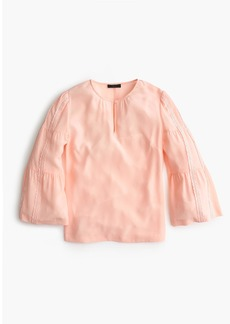 J.Crew Embroidered bell-sleeve silk top