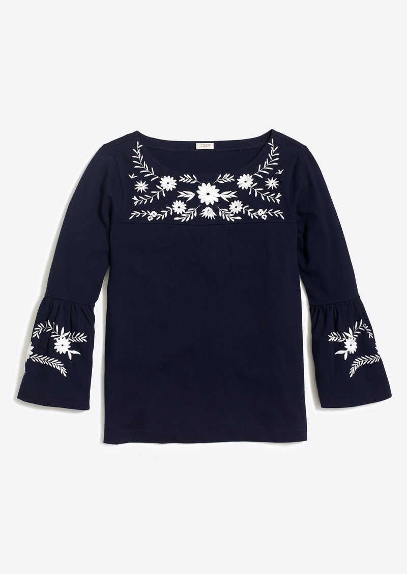 J Crew Embroidered Bell Sleeve T Shirt Casual Shirts