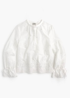 J.Crew Petite embroidered floral popover shirt