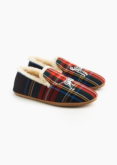 J.Crew Embroidered loafer slippers in tartan