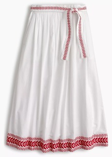 J.Crew Embroidered midi skirt