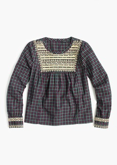 Embroidered peasant top in plaid