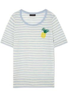 J.Crew Embroidered Striped Merino Wool T-shirt