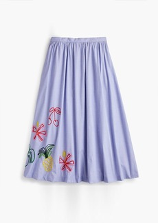 J.Crew Embroidered tropical skirt in cotton oxford