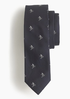 J.Crew English silk tie with embroidered skiers