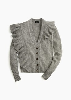 J.Crew Everyday cashmere ruffle-knit cardigan sweater