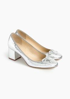J.Crew Evie ballet heel in silver