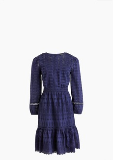 Eyelet flutter-hem dress