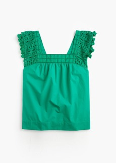 J.Crew Eyelet top with tassel trim