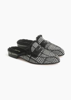 J.Crew Faux fur-lined Academy penny loafers mule in glen plaid