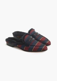 J.Crew Faux fur-lined Academy penny loafers mule in silk tie print