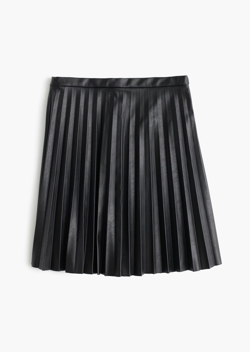 J.Crew Faux-leather pleated mini skirt