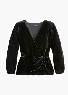J.Crew Faux-wrap top in drapey velvet