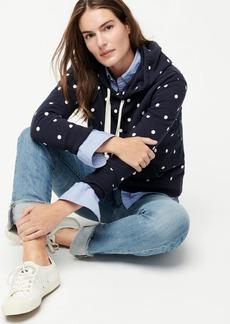 J.Crew Fleece pullover hoodie in polka dot