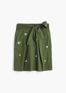 Petite floral embroidered tie-waist skirt