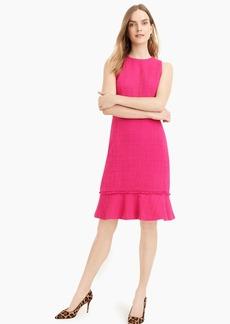 J.Crew Fluted hem A-line dress in textured cotton tweed