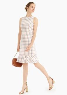 J.Crew Fluted hem A-line dress in windowpane cotton tweed