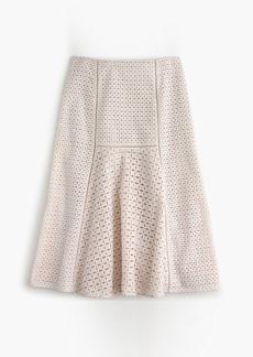 Fluted skirt in geometric eyelet