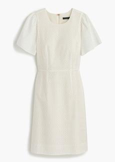 Flutter-sleeve dress in eyelet
