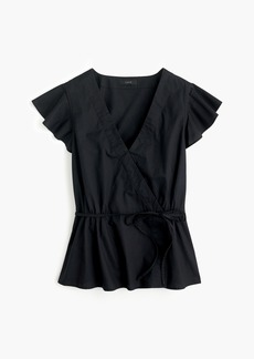J.Crew Flutter-sleeve wrap top in cotton poplin