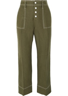 J.Crew Foundry Cropped Linen Flared Pants