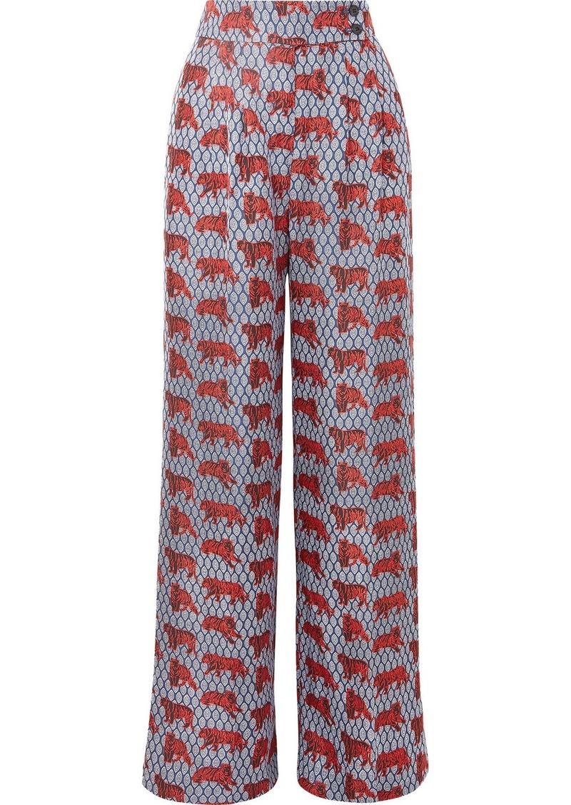 J.Crew Frankie Printed Silk-twill Wide-leg Pants