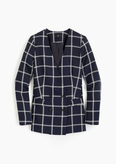 J.Crew Petite French girl blazer in windowpane everyday crepe