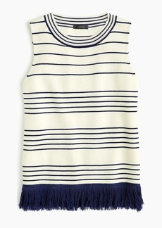 J.Crew Fringed boatneck shell in stripe