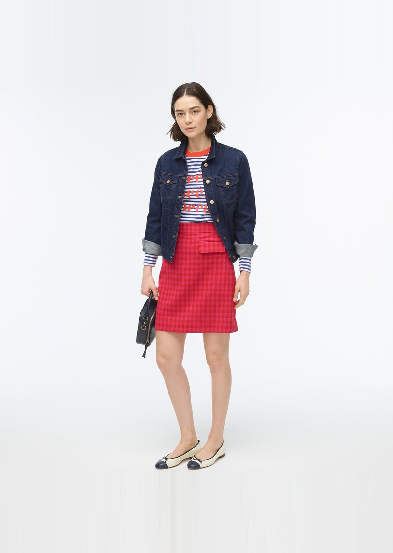J.Crew Front-flap pocket skirt in colorful gingham
