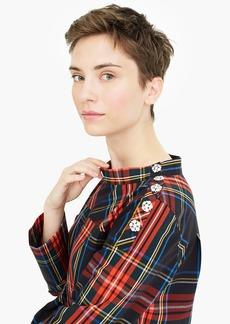 J.Crew Funnelneck shirt in Stewart tartan with jeweled buttons