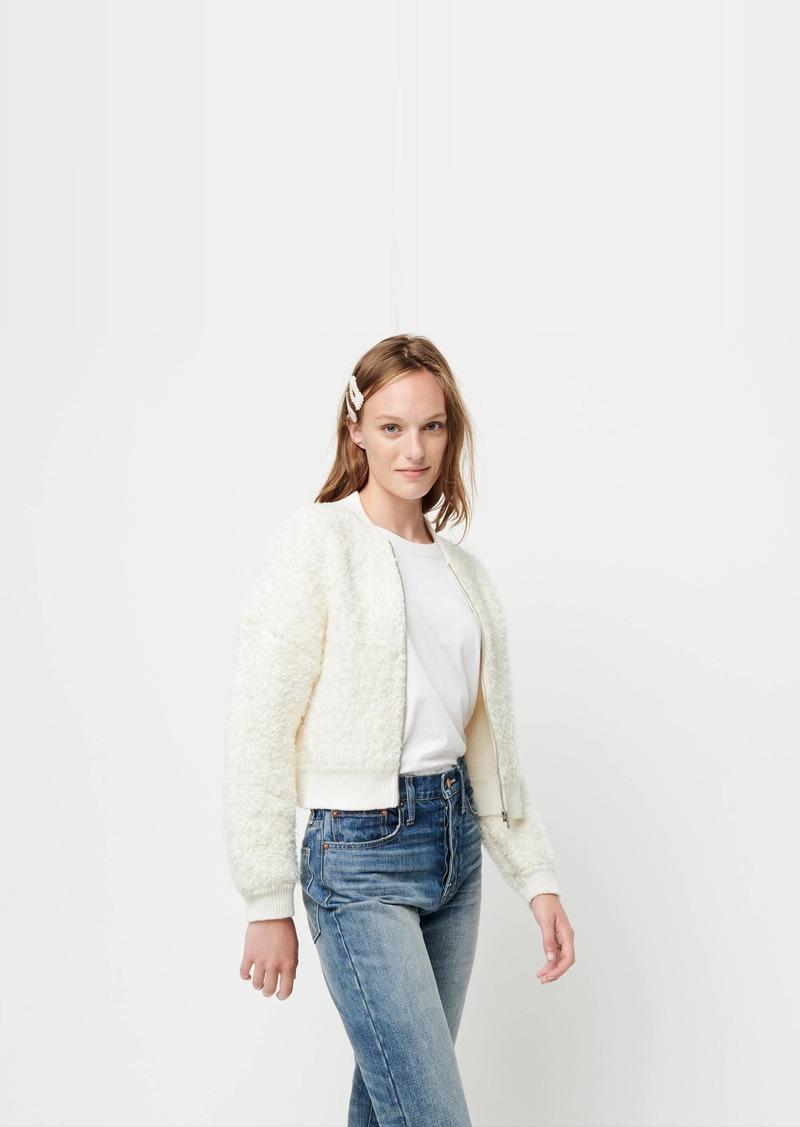 J.Crew Fuzzy bomber sweater-jacket
