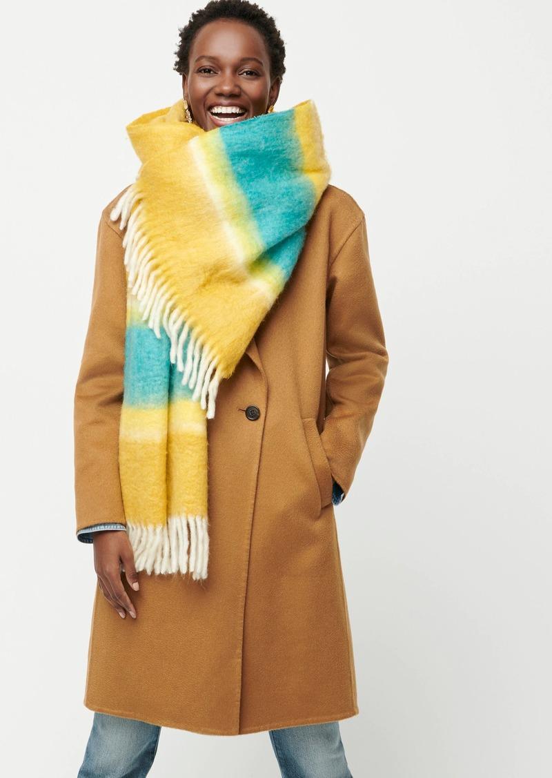 J.Crew Fuzzy fringe scarf with watercolor stripe