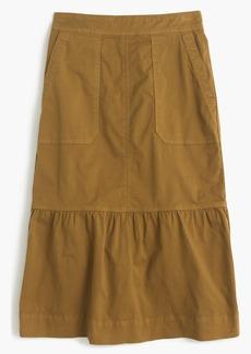 Garment-dyed chino ruffle skirt