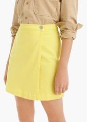 J.Crew Garment-dyed Japanese denim wrap mini skirt