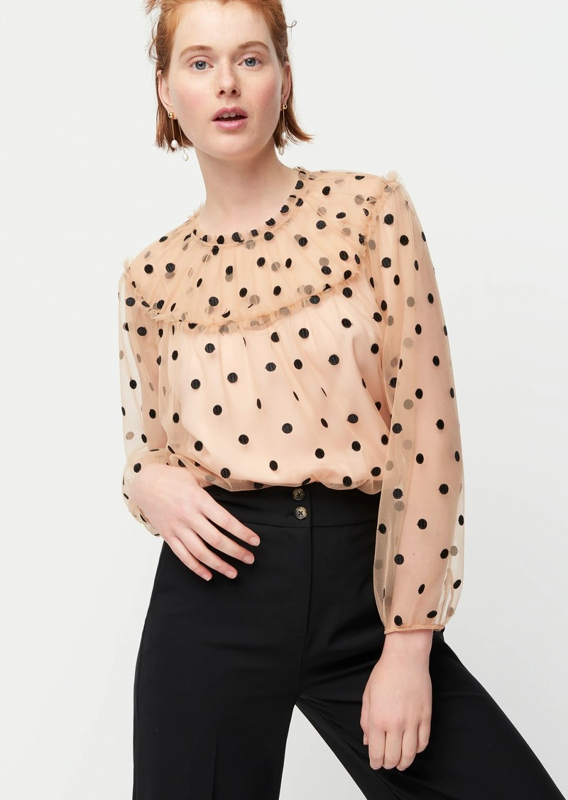 J.Crew Gathered long-sleeve top in dotted tulle