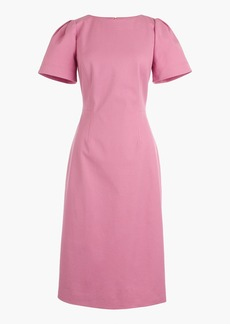 Petite gathered-sleeve dress in two-way stretch cotton