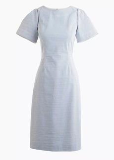 Gathered-sleeve dress in seersucker