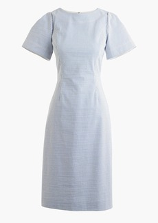 Gathered-sleeve dress in seersucker