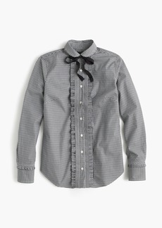 J.Crew Gingham ruffle button-up with grosgrain tie