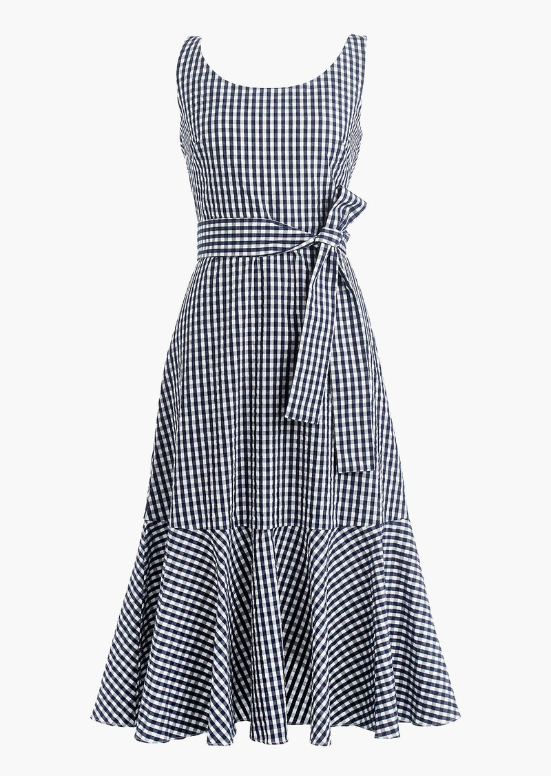J.Crew Gingham ruffle-hem dress