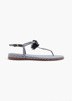 J.Crew Gingham T-strap bow sandals