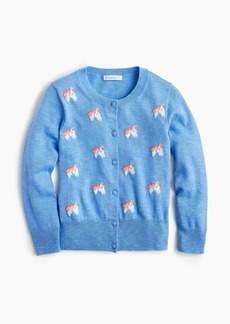 J.Crew Girls' cardigan sweater with unicorns